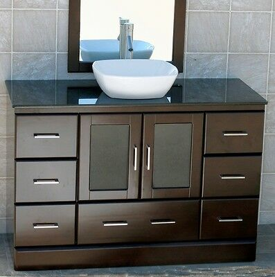 "48"" Bathroom Vanity 48-inch Cabinet Black Granite Top Ceramic Vessel Sink M7068"