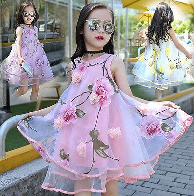Fairy Flower Dress (2018 New Summer Kid Girls Princess Clothes Flower Fairy Party Beach Tutu)