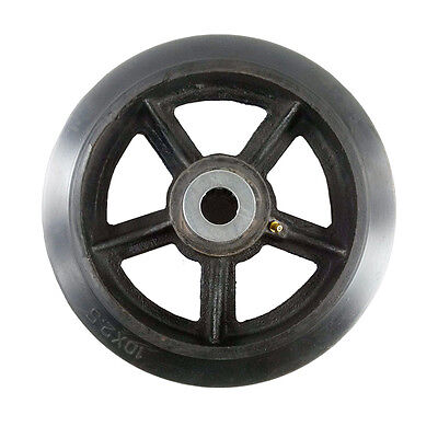 10 X 2-12 Rubber On Cast Iron Wheel With Bearing - 1 Ea