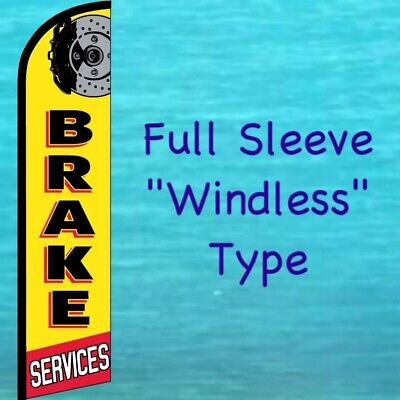 Brake Services Windless Feather Flag Auto Repair Tall Curved Top Banner Sign