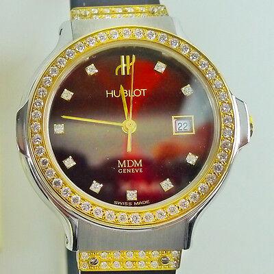 Hublot Steel and Gold Diamond Burgundy Reference #1390.B24.2.05
