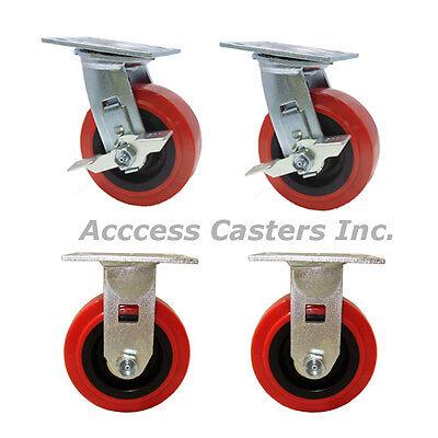 Set Of Casters 6 Inch Polyurethane Wheel 2 Rigid Fixed 2 Swivel Brake Lock