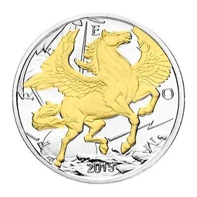 2015 PEGASUS  24k Gold Gilded 1oz .999 pure Silver Coin 1