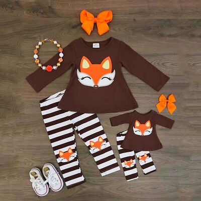 USStock Fox Baby Kids Girl Outfit T Shirt Top+Striped Leggings Pants Clothes Set