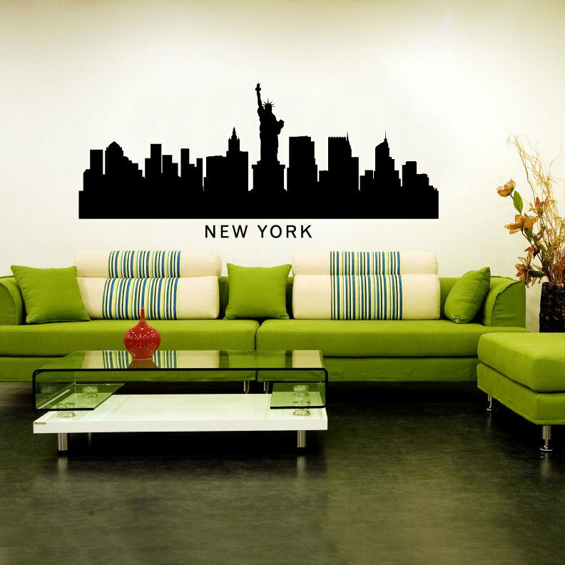 New York City Skyline Silhouette Vinyl Wall Art Decal Sticker
