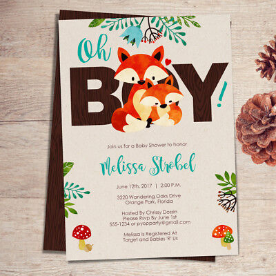 Woodland Baby Theme (Fox Baby Shower Invitations - BOY / Fox Theme Baby Shower Invites /)