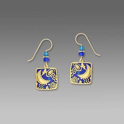 - Adajio Earrings Lapis Blue Rectangle Gold Plated Moon Overlay Handmade in USA