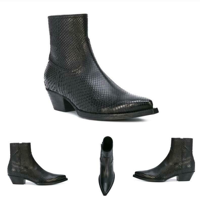 Mens, Pointy, Toe, Chunky, Zip, Genuine, Leather, Snakeskin, Cowboy, Chelsea, Boots, Shoes