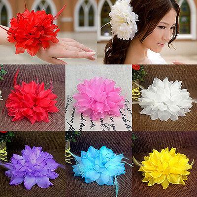 Women Beach Orchid Bridal Wedding Flower Hair Clip Brooch Barrette Headpiece RS](Flower Headpiece)