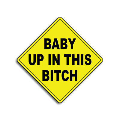 Baby Up In This Bitch  Decal Car Truck Funny Joke Humor Sticker Vinyl Bumper