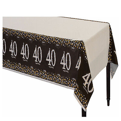 Sparkling Celebration 40th Birthday Table Cover Fortieth Party Decoration ~ 40 - 40th Birthday Decor