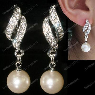 CLIP ON pearl TWIST rhinestone CRYSTAL drop EARRINGS silver fashion -