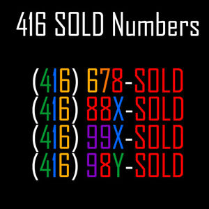 Rare 416 SOLD VIP Vanity Phone Numbers for Real Estate Agents!