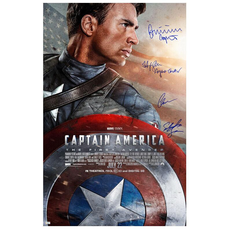 Chris Evans and Cast Autographed Captain America Original 27x40 Movie Poster