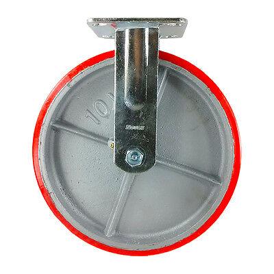 10 X 2 Red Polyurethane On Cast Iron Casters - Rigid