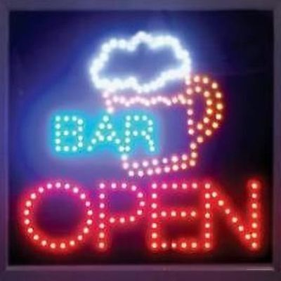 Ultra Bright Led Neon Animated Motion Wine Bar Cocktail Open Business Sign L84