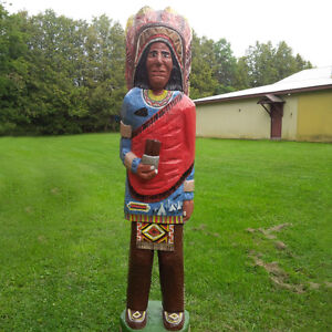 5Ft High Cigar Store Indian Carved Wood Statue