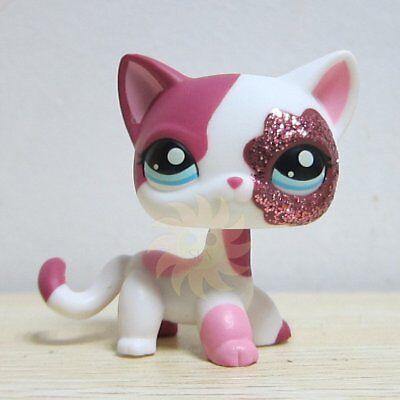 Littlest Pet Shop LPS Toys #2291 Sparkle Glitter Pink White Shorthair Kitty Cat