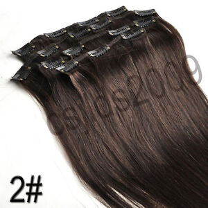 Straight 7 pcs CLIP IN 100% REAL HUMAN HAIR EXTENSIONS ★Brown Blonde Black red★★