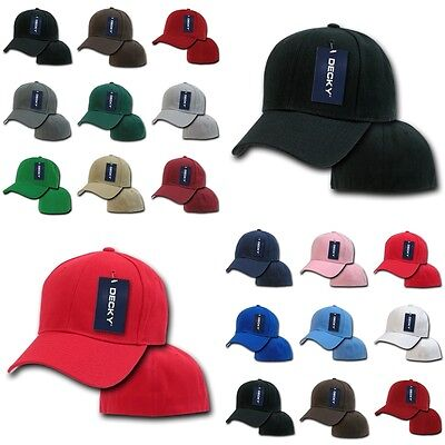 Bill 6 Panel Fitted Cap (DECKY Plain Blank Fitted Curved Bill 6 Panel Baseball Hat Hats Cap Caps 402 )