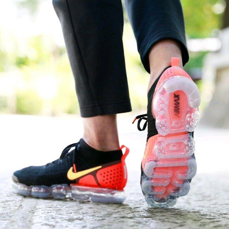low priced a425c 1b9f8 Size 9.5 men s Nike Air Vapormax Flyknit 2 Black Laser Orange Crimson 942842 -005
