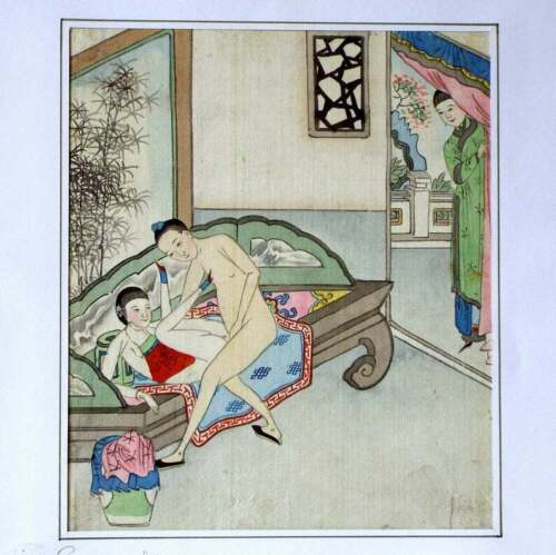 Genuine and Antique Chinese Erotic Painting hand painted on silk cloth