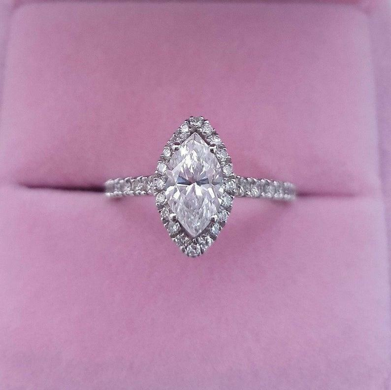 Real Diamond Engagement Ring E/si1 2.00 Ct Marquise Cut 14k White Gold