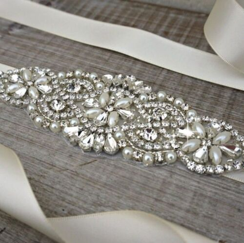 Wedding Crystal sashes Bridal Sash Belt, Rhinestone Sash With Light Ivory Satin