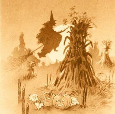 Halloween Witch on Broom Corn Stalks Jack O Lanterns
