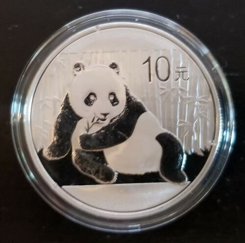 2015 China 1 Troy oz .999 Fine Silver Panda 10 Yuan Coin In Mint Capsule