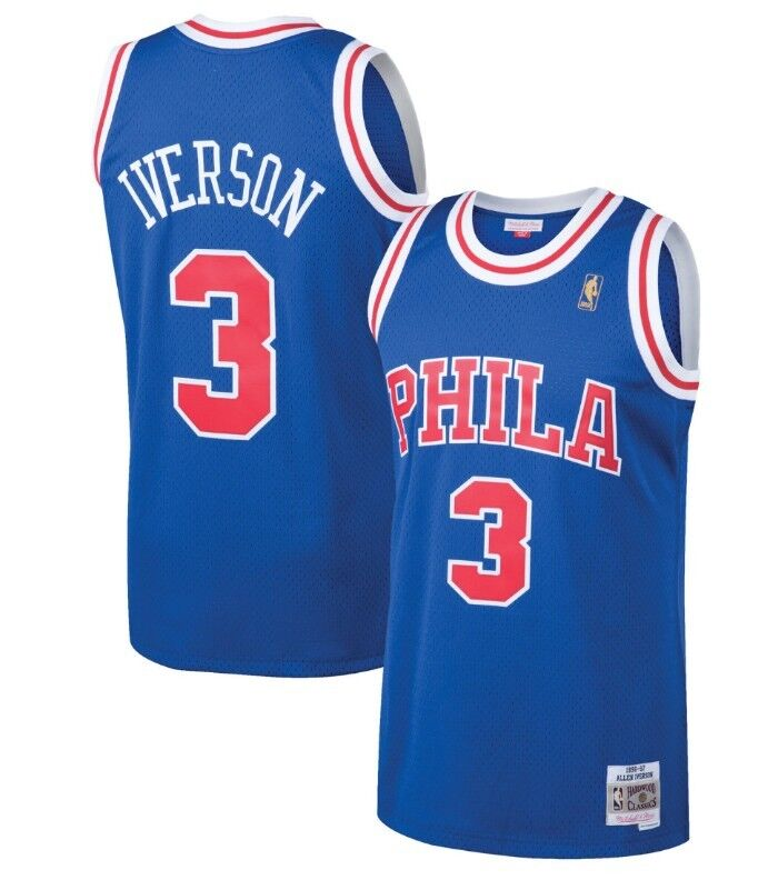free shipping c52ce 2dd8e Details about Allen Iverson #3 Philadelphia 76ers Mitchell & Ness Mesh  Throwback Jersey Royal