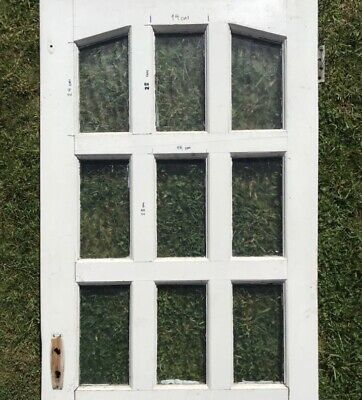 Door glazing (not door) - 9 panes obscured glass, reclaimed salvage