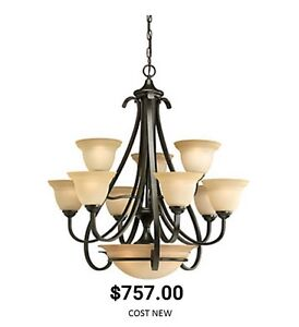 Large Chandelier and 2 Matching Sconces