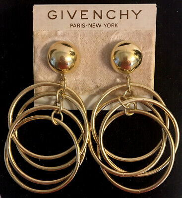Vintage Givenchy Gold Multi Hoop Dangle Pierced Earrings - Unsigned