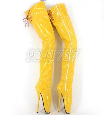 Plusgröße Lackleder Damenschuhe Ballett Kniehohe Stiefel High heels (Plus Größe Damen Stiefel)