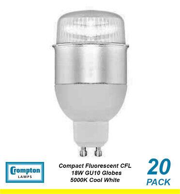 Gu10 Fluorescent Bulbs - 20 x 18W GU10 Compact Fluorescent Lamps / Globes / Bulbs 5000K Cool White CFL