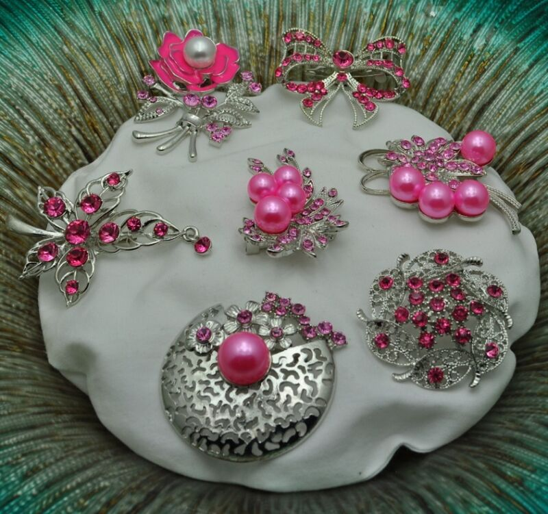 P-63 Wholesale Lot 8  Vintage Style  Brooches Pins Pink  Bouquet