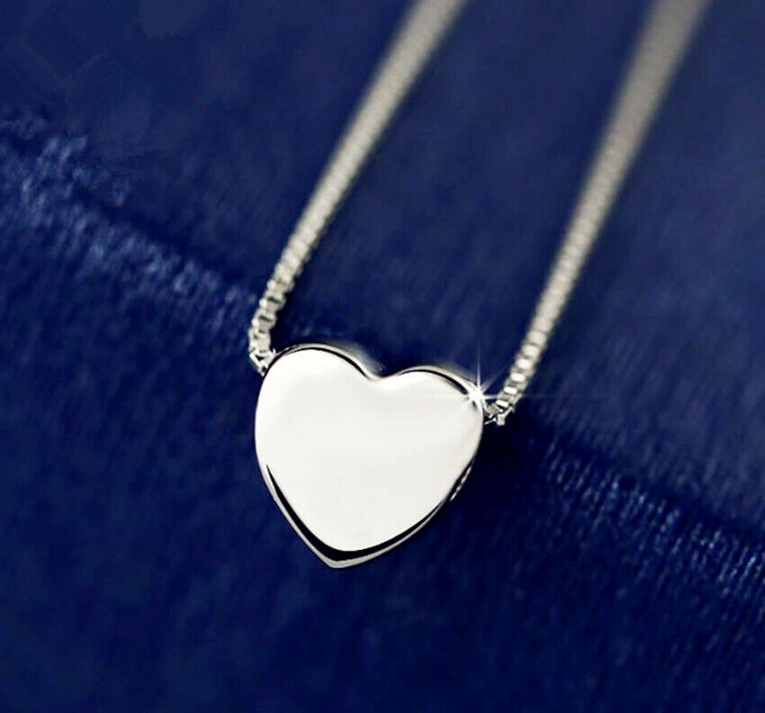 Jewellery - Heart Charm Pendant 925 Sterling Silver Plated Necklace Womens Jewellery Gift UK