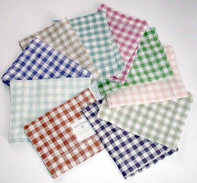 Sferra Piccadilly 100% Linen Cocktail Napkins Gingham Check Set/2 6x9