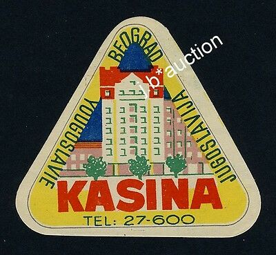 Hotel Kasina 2 BEOGRAD Serbia Yugoslavia * Old Luggage Label Kofferaufkleber