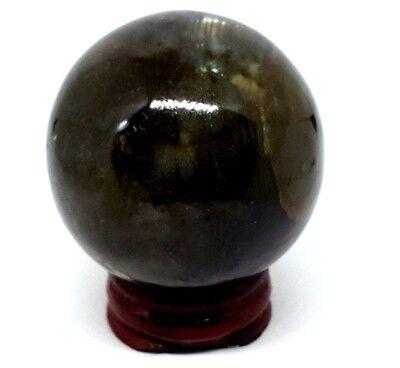 Labradorite Bola de Cristal Gema Chamanes Adivinación Sphere 47mm 155g & Soporte