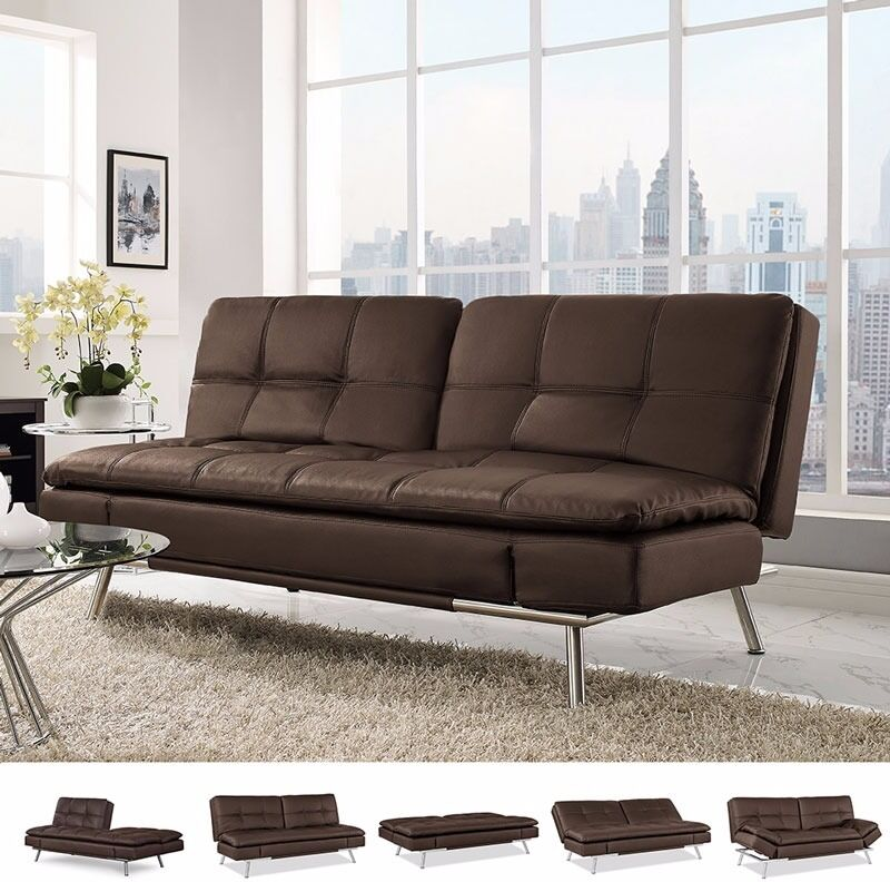 Ravenna Brown Bonded Leather Convertible Sofa Bed
