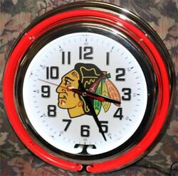 Chicago Blackhawks Neon Clock NHL New Wall Clock Lifestyle Lighting