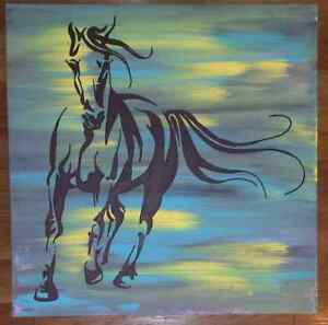 Horse painting on 24 x 24 x 2 canvas