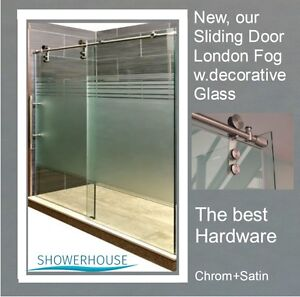 Frameless glass shower sliding doors