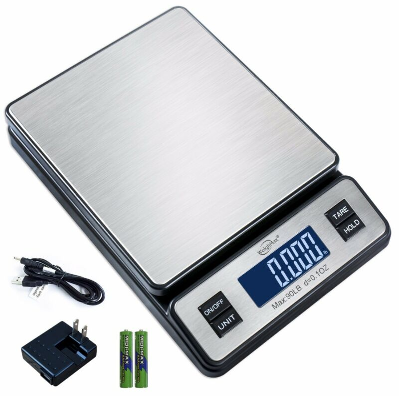Weighmax W-2809 90 LB x 0.1 OZ Digital Shipping Postal Scale W/AC Adapter
