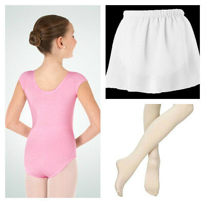Body Wrappers BWC120 Girl's 3-4 Light Pink Short Sleeve Leotard Tights & Skirt