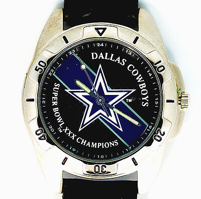 Dallas Cowboys Super Bowl Xxx Fossil Vintage New Unworn Leather Band Watch   149