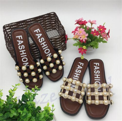 Women Summer Faux Pearl Flip Flops Slippers Flat Sandals