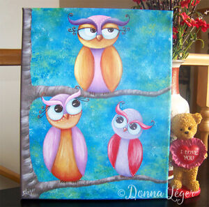 Three Whimsical Owls on Branches Painting